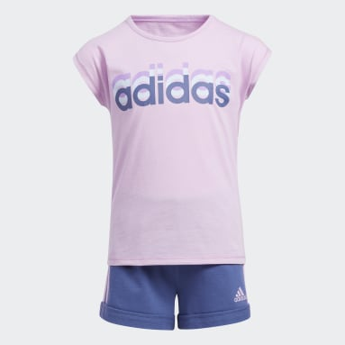 Children Training Purple Dance Tee and Shorts Set