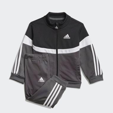 Kids Gym & Training Black Shiny Badge of Sport 3-Stripes Track Suit