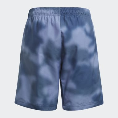 Allover Print Camo Swim Shorts Niebieski