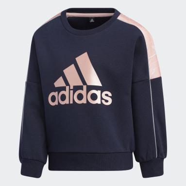 Girls Gym & Training Blue Lightweight Knit Crew Sweatshirt