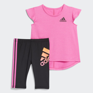 Infant & Toddler Training Pink Graphic Capri Tights Set