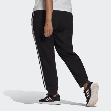 Women Sportswear Black adidas Essentials French Terry 3-Stripes Joggers (Plus Size)