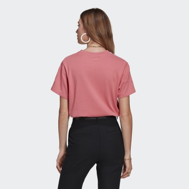 T-shirt Adicolor 3D Trefoil Loose Rose Femmes Originals