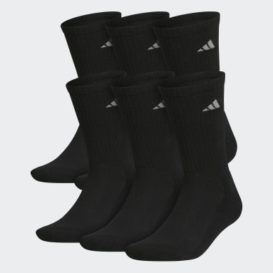 Men's Basketball Black Athletic Cushioned Crew Socks 6 Pairs