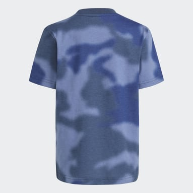 Children Originals Blue Allover Print Camo Tee