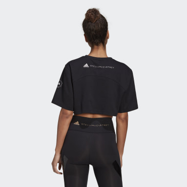 Women adidas by Stella McCartney Black adidas by Stella McCartney Future Playground Cropped Tee