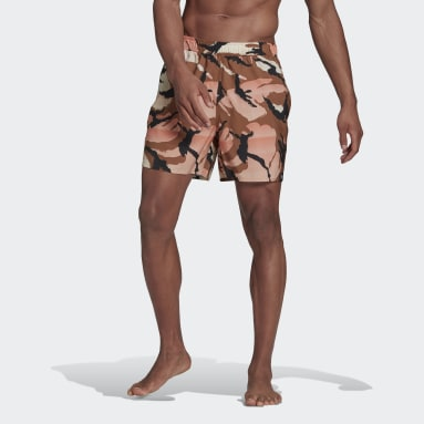 Men Swimming Brown Short-Length Graphic Swim Shorts