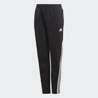 Jungen Fitness & Training 3-Streifen Doubleknit Tapered Leg Hose Schwarz