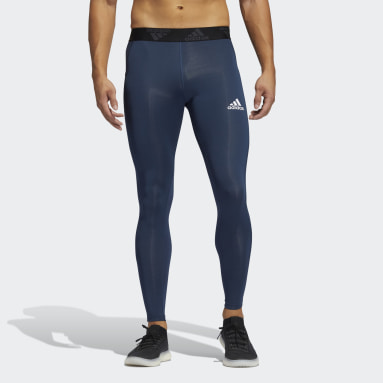 Men Gym & Training Blue Techfit 3-Stripes Long Tights