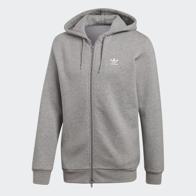 Men's Originals Grey Fleece Trefoil Hoodie