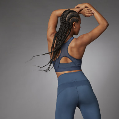 Reggiseno sportivo Believe This 3-Stripes Medium Support Rib Blu Donna Fitness & Training