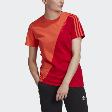 Dames Originals Rood Adicolor Sliced Trefoil Regular T-shirt