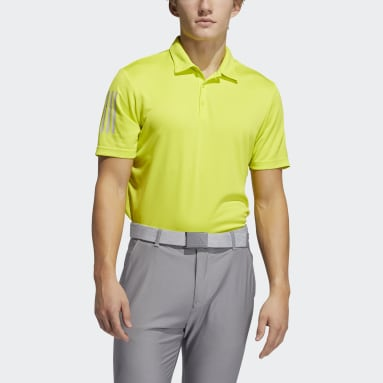 Men Golf Yellow 3-Stripe Basic Polo Shirt