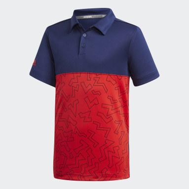 Boys Golf Blue Graphic Block Polo Shirt