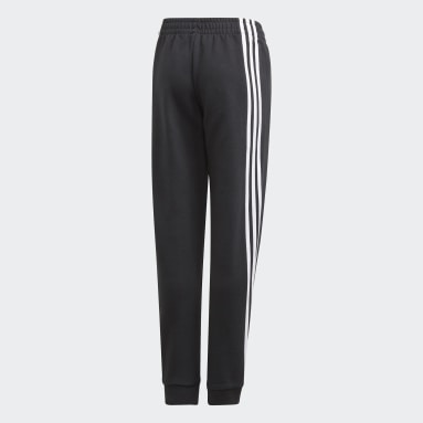 Youth 8-16 Years Gym & Training Black 3-Stripes Tapered Leg Tracksuit Bottoms