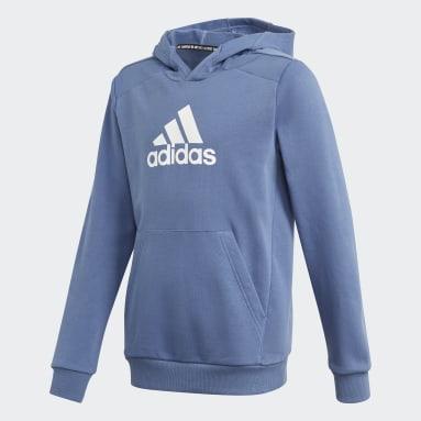 Boys Fitness Og Træning Blå Logo hættetrøje