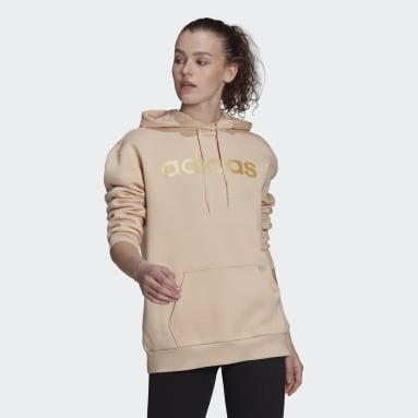 Camisola Oversize com Capuz em Fleece Essentials Rosa Mulher Sportswear
