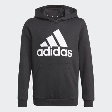 Chlapci Sportswear čierna Mikina skapucňou adidas Essentials
