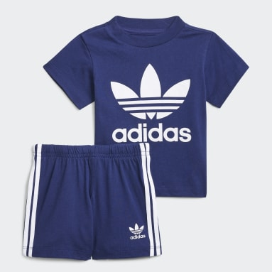 Kinderen Originals blauw Trefoil Short en T-shirt Set