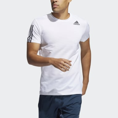 Heren Hardlopen wit Primeblue AEROREADY 3-Stripes Slim-fit T-shirt