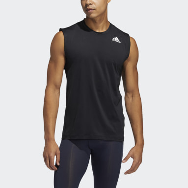 Men Running Black Techfit Sleeveless Fitted Tee