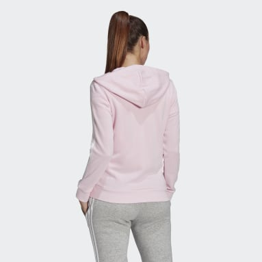Veste à capuche Essentials French Terry 3-Stripes Full-Zip Rose Femmes Sportswear