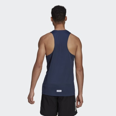 Men Running Blue Run for the Oceans Graphic Tank Top