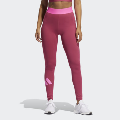 Dames Fitness En Training Roze Techfit Life Mid-Rise Badge of Sport Lange Legging