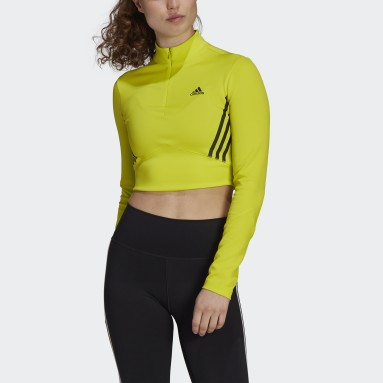 Women Studio Yellow Long-Sleeve Top Crop Top