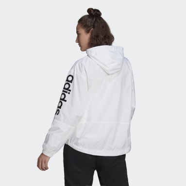 Women's Essentials White Essentials Oversize Logo Windbreaker