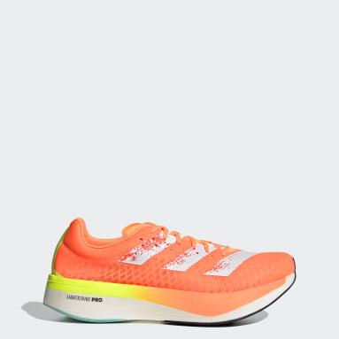 Men Running Orange Adizero Adios Pro Shoes