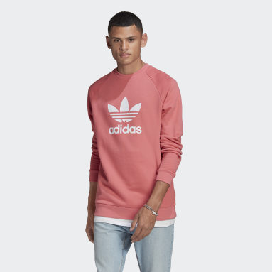 Men Originals Pink Trefoil Warm-Up Crew Sweatshirt