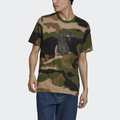 T-shirt Camo Tongue Label Verde Uomo Originals