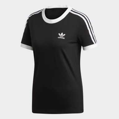 T-shirt3-Stripes noir Femmes Originals
