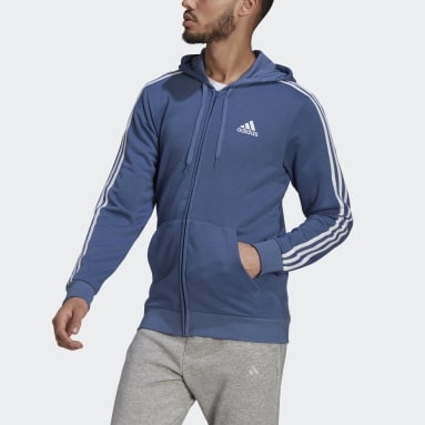 Essentials French Terry 3-Stripes Full-Zip Hoodie Niebieski