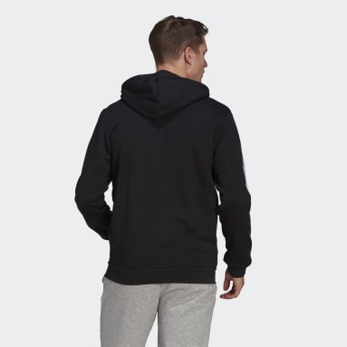 Men Sport Inspired Black Essentials Colorblock Logo Hoodie