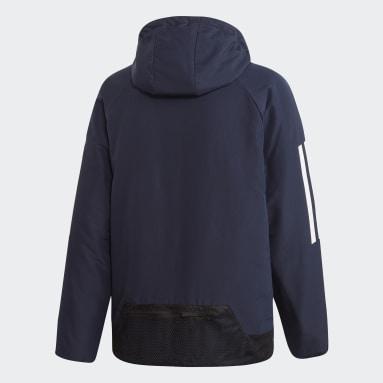 Men City Outdoor Blue BTS 3-Stripes Hooded Winter Jacket