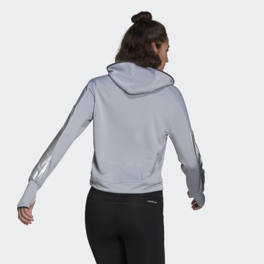 Sweat-shirt à capuche Space Race Gris Femmes Running