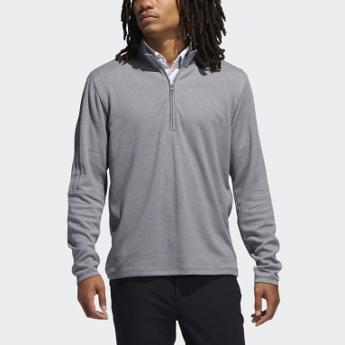 Men Golf Grey 3-Stripes Quarter-Zip Pullover