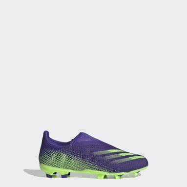 Calzado de Fútbol Sin Cordones X Ghosted.3 Terreno Firme Violeta Niño Fútbol
