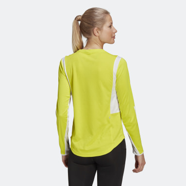 Dam Löpning Gul Own The Run 3-Stripes Running Tee
