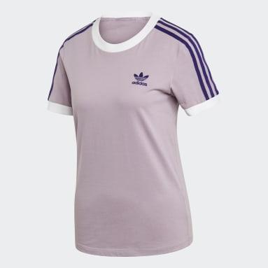 Dames Originals Paars 3-Stripes T-shirt