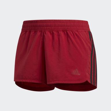 Women Training Burgundy Pacer 3-Stripes Woven Shorts