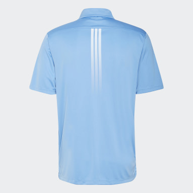 Men Golf Blue Solid 3-Stripes Polo Shirt