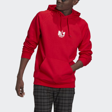 Men Originals Red LOUNGEWEAR Adicolor 3D Trefoil Graphic Hoodie
