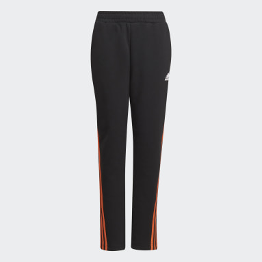 Youth 8-16 Years Gym & Training Black 3-Stripes Doubleknit Tapered Leg Tracksuit Bottoms