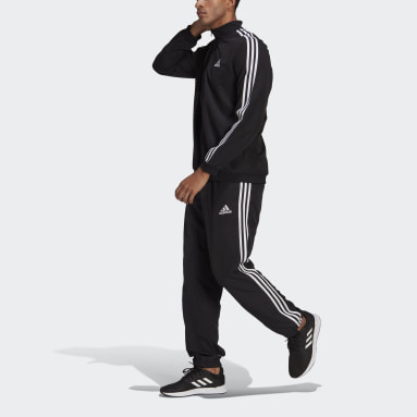 Men Sportswear Black AEROREADY Essentials Regular-Fit 3-Stripes Tracksuit
