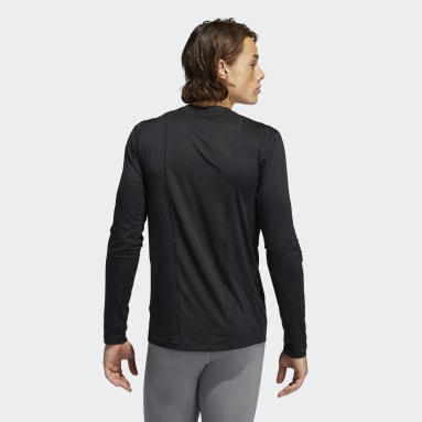 Men Cricket Black Techfit 3-Stripes Fitted Long-Sleeve Top Long-Sleeve Top