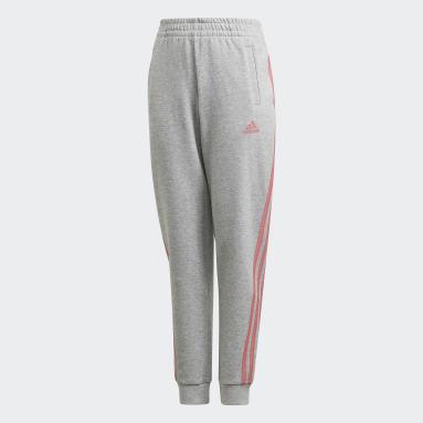 Girls Gym & Training Grey 3-Stripes Tapered Leg Pants