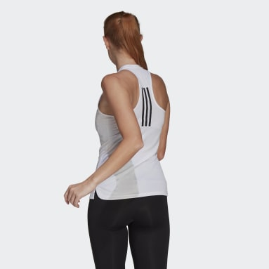Women Training White Primeblue Designed 2 Move 3-Stripes Sport Tank Top